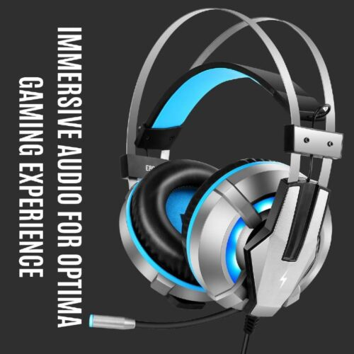 Fire Boltt Gaming Headset for PS4 PC Xbox One Controller Nintendo Switch Gaming Headphone with Adjustable Noise Cancelling Mic LED Light Soft Memory Earmuffs Over Ear Headphone for Gaming 4