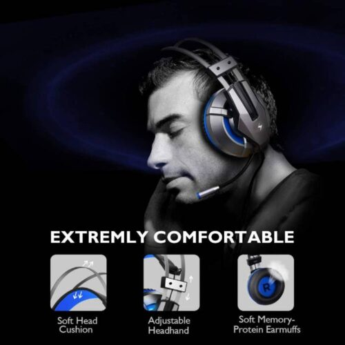 Fire Boltt Gaming Headset for PS4 PC Xbox One Controller Nintendo Switch Gaming Headphone with Adjustable Noise Cancelling Mic LED Light Soft Memory Earmuffs Over Ear Headphone for Gaming 5