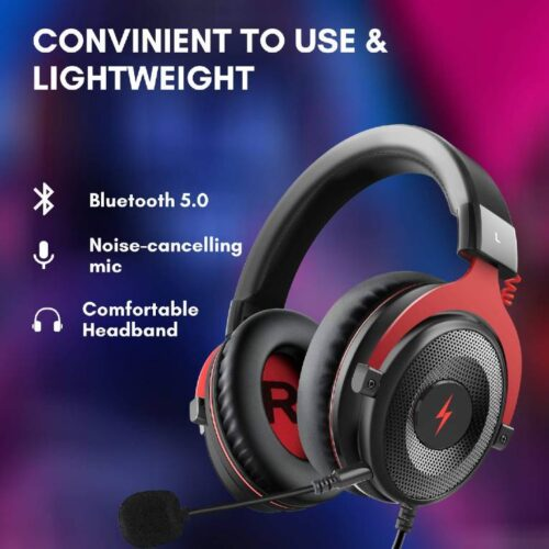 Fire Boltt USB Gaming Headset Xbox One Headset with 7 1 Surround Sound PS4 PS5 Headset Noise Cancelling Headset with Mic LED Light Compatible with PC PS4 PS5 Xbox One Controller Nintendo Switch 2