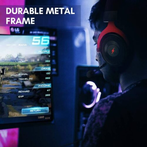 Fire Boltt USB Gaming Headset Xbox One Headset with 7 1 Surround Sound PS4 PS5 Headset Noise Cancelling Headset with Mic LED Light Compatible with PC PS4 PS5 Xbox One Controller Nintendo Switch 4