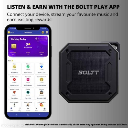 Fire Boltt Xplode 1200 Portable Bluetooth 12W Speaker with Boombastic HD Sound Punch Bass Durable Rugged Waterproof with Long Lasting Playtime 1800mAh Battery Black 4