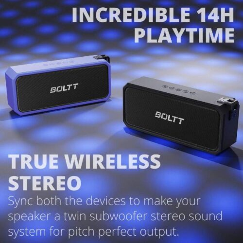Fire Boltt Xplode 1300 Portable Bluetooth 20W Speaker Monstrous Sound Twin Subwoofers Powerful 3000mAh Battery with 14H Playtime IPX7 Waterproof Blue 6