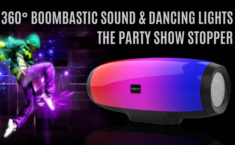 Fire Boltt Xplode 1400 Bluetooth Portable Speaker with Vibrant LightShow 360° Boombastic Surround Sound