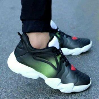 LeeGalaxy Black Green Casuals Men's Running Sports Shoes