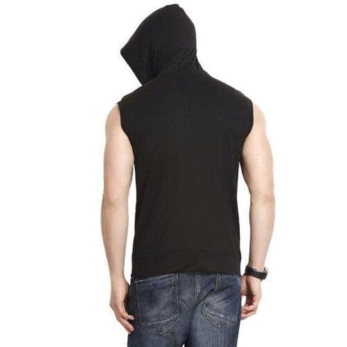 Sleeveless Hooded Cotton Men T-Shirt