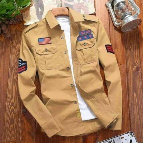 Stylish Cotton Mustard Casual Shirt For Men