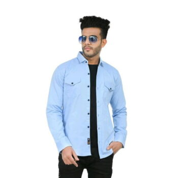 Stylish Elegant Men Shirt (Blue)