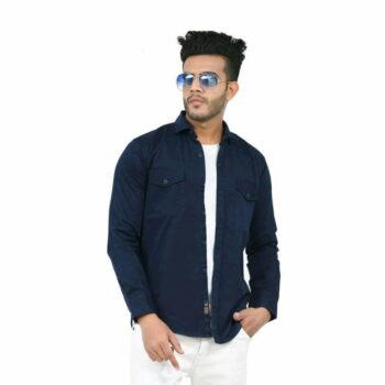 Stylish Elegant Men Shirt (Navy Blue)