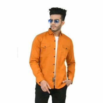 Stylish Elegant Men Shirt (Orange)