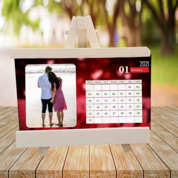 Customized Valentine Photo Calendar With Wooden Easel Stand - Exclusive and Elegant (6x8 inch)