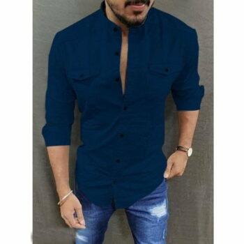 Double Pocket Men Shirt (Navy Blue)