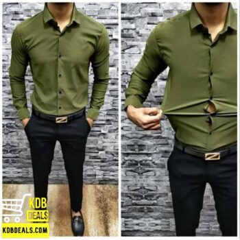 Lycra Stretchable Green Casual Shirt