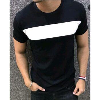 Men Solid Black Short Sleeve Tshirt