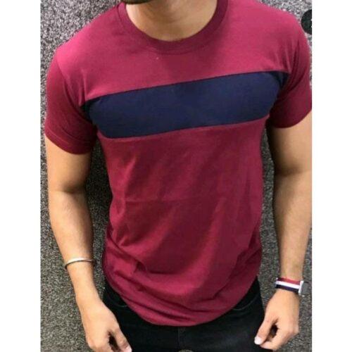 Men Solid Maroon Short Sleeve Tshirt