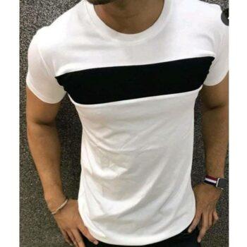 Men Solid White Short Sleeve Tshirt
