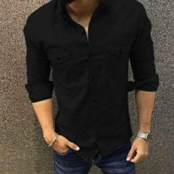 Trendy Double Pocket Men Shirt (Black)
