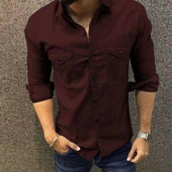 Trendy Double Pocket Men Shirt (Coffee)