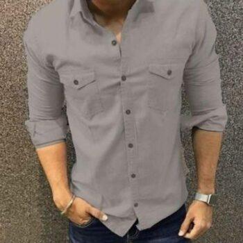 Trendy Double Pocket Men Shirt (Grey)