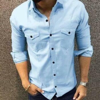Trendy Double Pocket Men Shirt (Sky Blue)