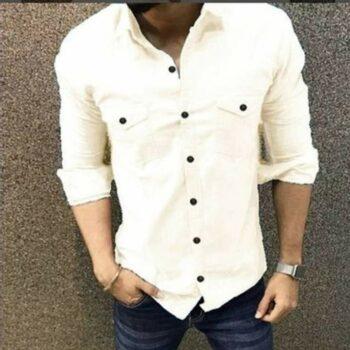 Trendy Double Pocket Men Shirt (White)