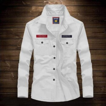 White Cotton Long Sleeves Casual Shirts For Men