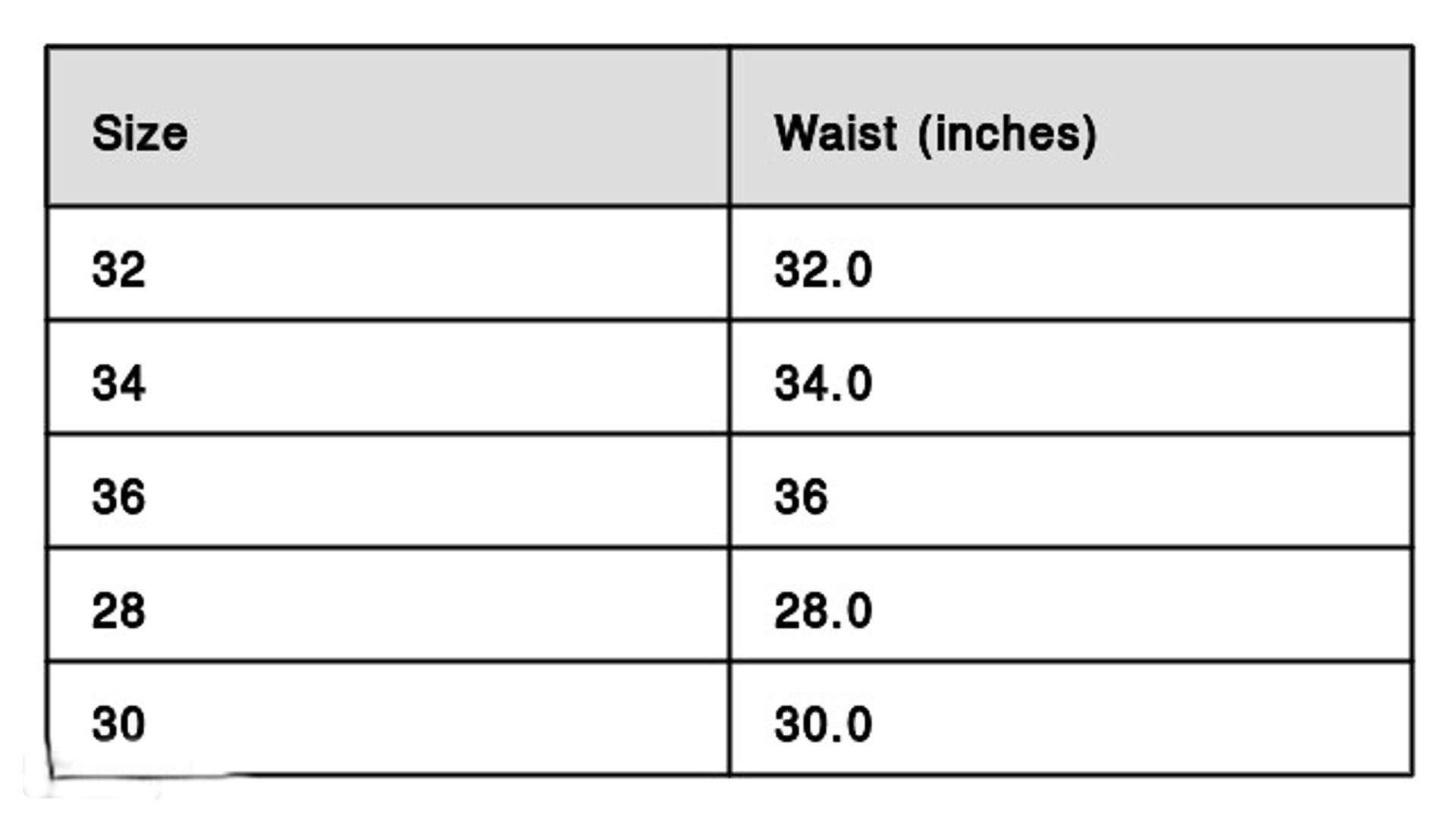 Cargo Pant Size Chart