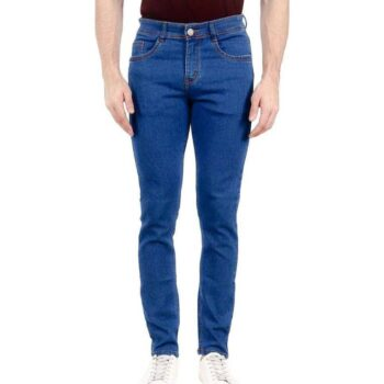 Men's Blue Washed Dyed Slim Fit Jeans Stretchable