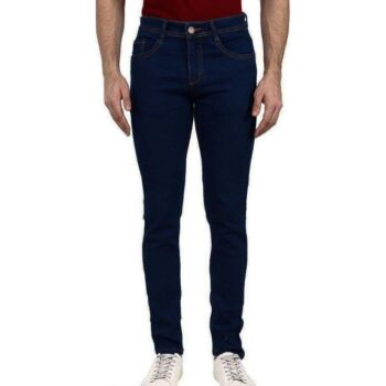 Men's Navy Blue Washed Dyed Slim Fit Jeans Stretchable