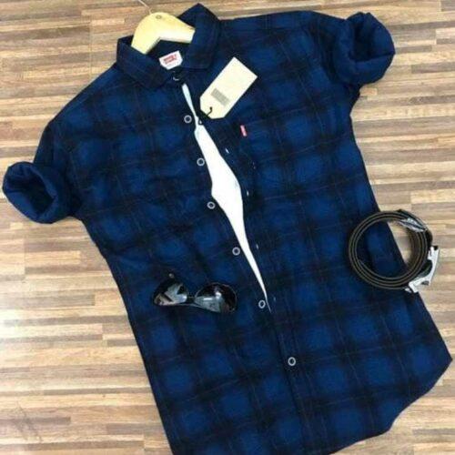 Casual Checkered Blue Men's Shirt