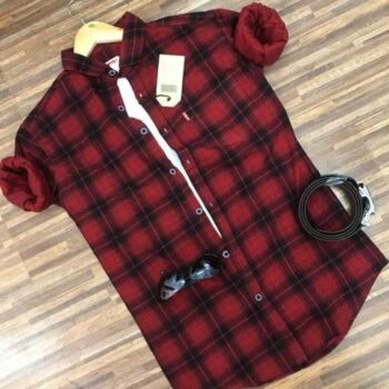 Casual Checkered Red Men's Shirt