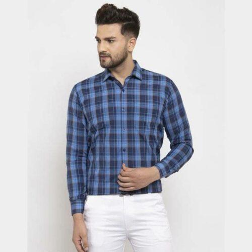 Checkered Men's Blue Cotton Shirt