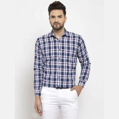 Checkered Men's Casual Cotton Shirt (Blue)
