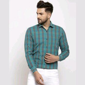 Checkered Men's Casual Cotton Shirt (Green)