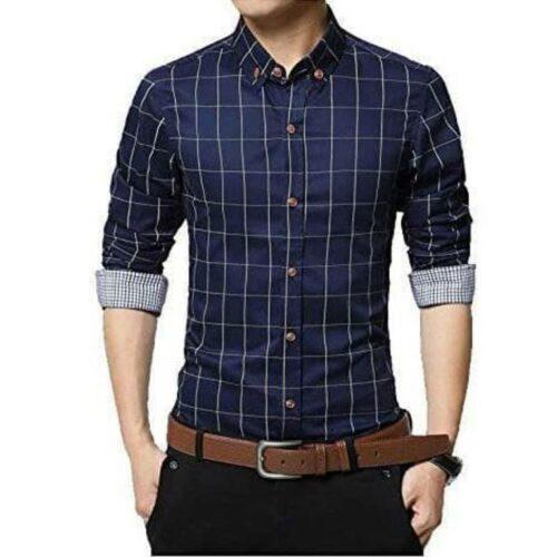 Checkered Men's Formal Shirt (Blue)