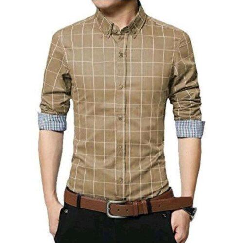Checkered Men's Formal Cotton Shirt (Green)