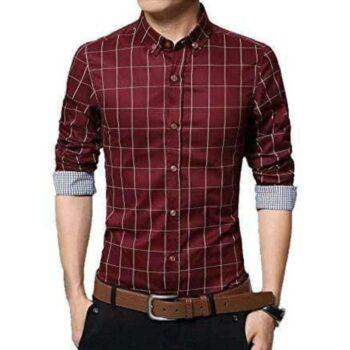 Checkered Men's Formal Shirt (Maroon)