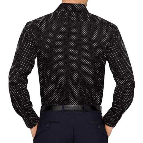 Cotton Polka Print Dotted Shirts for Men Black 1
