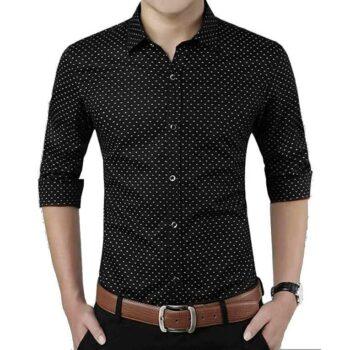 Cotton Polka Print Dotted Shirts for Men (Black)