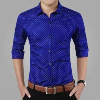 Cotton Polka Print Dotted Shirts for Men (Blue)