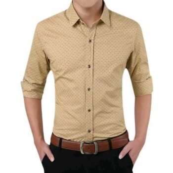 Cotton Polka Print Dotted Shirts for Men (Brown)