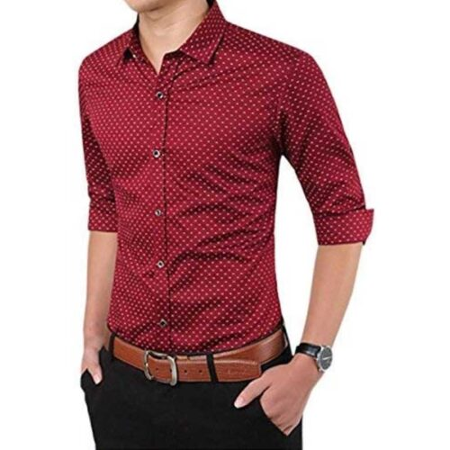 Cotton Polka Print Dotted Shirts for Men (Maroon)