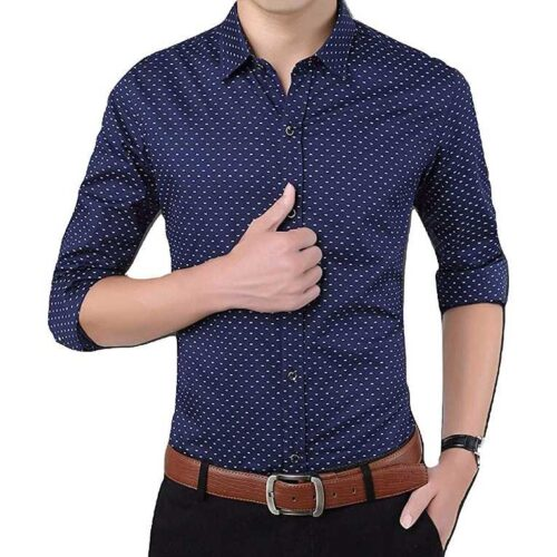 Cotton Polka Print Dotted Shirts for Men Navy 2