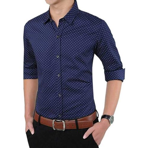 Cotton Polka Print Dotted Shirts for Men (Navy)
