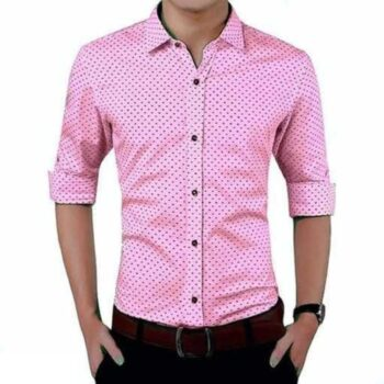 Cotton Polka Print Dotted Shirts for Men (Pink)