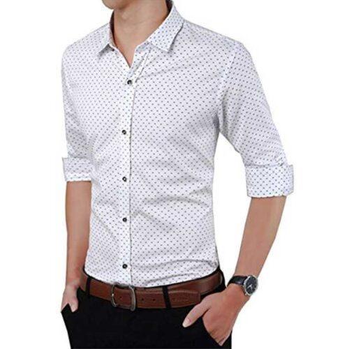 Cotton Polka Print Dotted Shirts for Men White 1