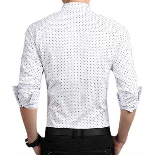 Cotton Polka Print Dotted Shirts for Men White 2