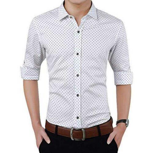 Cotton Polka Print Dotted Shirts for Men White
