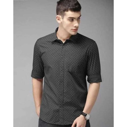 Dot Print Cotton Slim Fit Shirt For Men (Green)