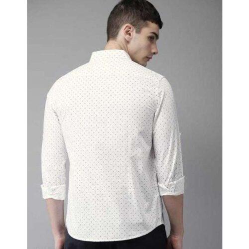 Dot Print Cotton Slim Fit Shirt For Men (White)