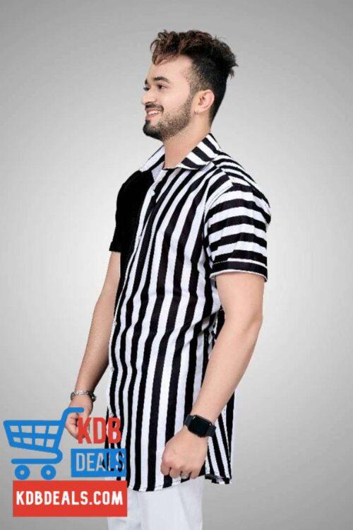 Double Toned Black White Men Printed Shirt